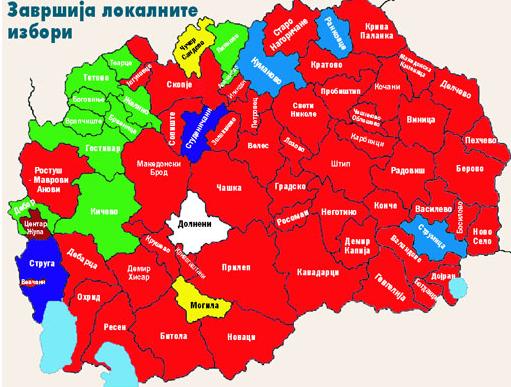 Rojo (conservadores), azul claro (socialdemócratas, verde (minoría albanesa)