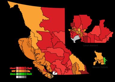 Mapa resultados elecciones Columbia Británica