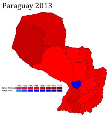 Mapa con los resultados: Cartes (Rojo), Alegre (Azul)