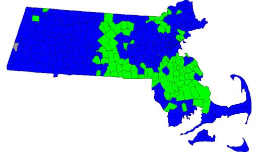 Resultados Primarias Demócratas: Markey (Azul), Lynch (Verde)
