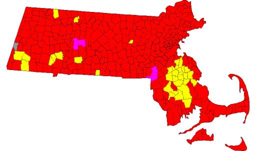 Resultados Primarias Republicanos: Gómez (Rojo), Sullivan (Amarillo), Winslow (Rosa)