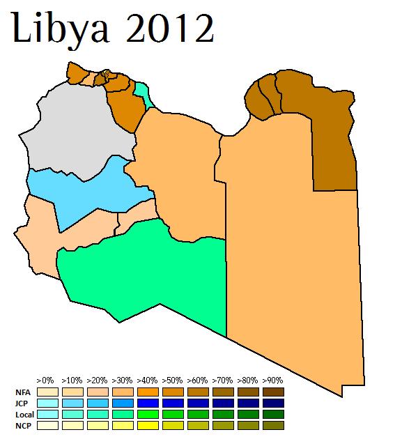 Mapa con los resultados de las elecciones de 2012 (Fuente: World Elections)